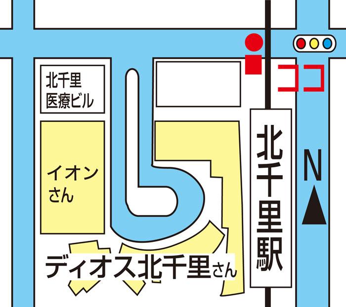 北千里駅北側高架下バス停車場所マップ