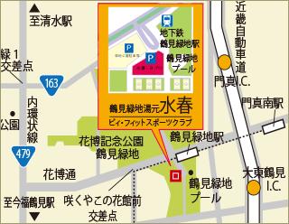 鶴見緑地湯元水春周辺マップ